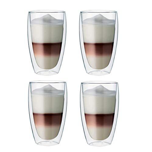 Maxxo Doppelwandige Gläser Latte Macchiato Set 4X 380 ML Kaffee Thermogläser mit Schwebe-Effekt...