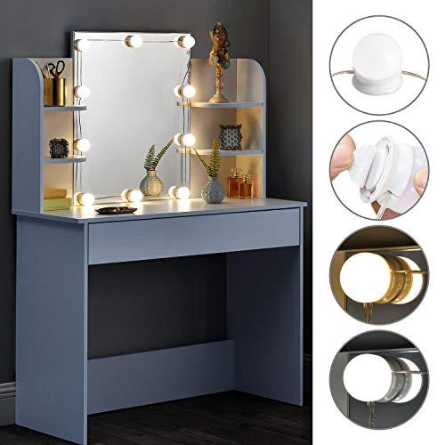ArtLife Schminktisch Bella mit LED-Beleuchtung, Spiegel, Schublade und Fächern | weiß | modern |...