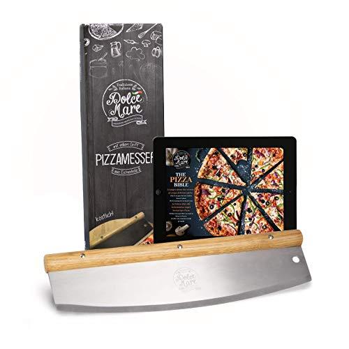 DOLCE MARE® Pizzaschneider - Vielseitig einsetzbares Wiegemesser mit edlem Griff aus Eichenholz -...