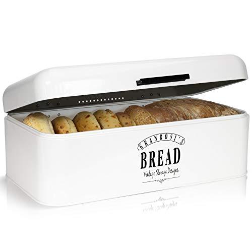 Granrosi Brotkasten im Retro Design - Geräumige Metall Brotbox hält Brot und Brötchen länger...