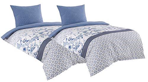 Leonado Vicenti Baumwolle Renforce Bettwäsche 135x200 4teilig weiß blau gestreift mit...
