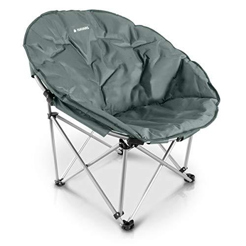 Navaris Moon Chair Faltsessel rund - XXL Camping Stuhl Outdoor Klappstuhl - Campingstuhl mit Tasche...