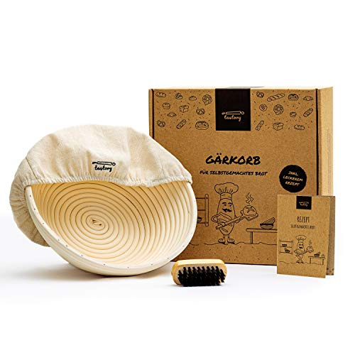 tastory® Gärkorb Set rund 25cm inkl. Holzbürste & Rezept I 1kg Brot Gärkörbchen aus Peddigrohr...