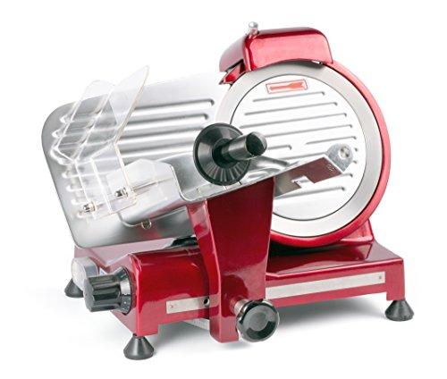 HENDI Aufschnittmaschine, Messerdurchmesser: 220mm, rote Sonderedition, Allesschneider, Stufenlos...