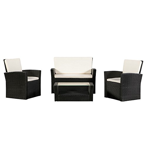 ArtLife Polyrattan Sitzgruppe Salvador | braun | Gartenmöbel – Set mit Sofa Sessel Tisch |...