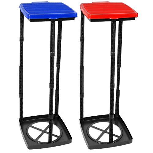 com-four® 2X Müllsackständer mit Deckel in blau und rot, Abfallbehälter in 3 Verschiedene Höhen...