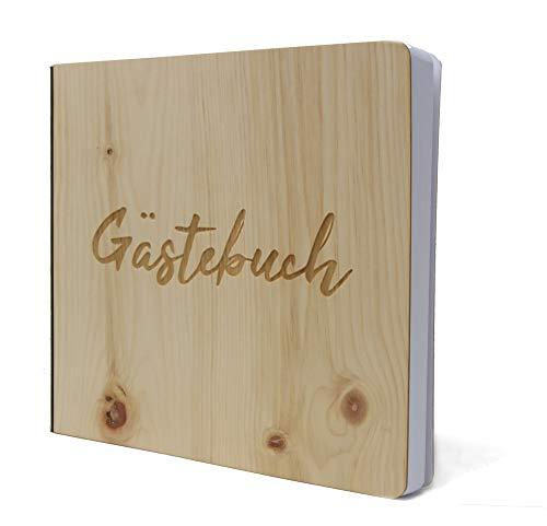 Gästebuch mit edlem Echtholz Zirbenholz Cover in der Größe 20 x 20cm 192 beschreibbare Seiten...