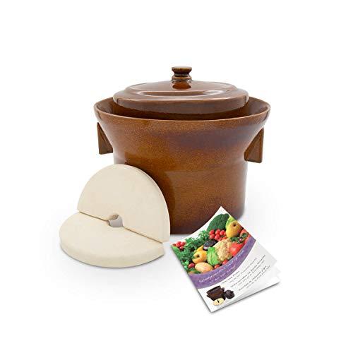 K&K Premium Gärtopf [Form 1] - 5.0 Liter aus hochwertiger Steinzeug Keramik inkl. Deckel und Stein...