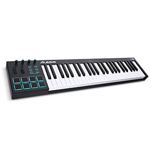 Alesis V49 - Tragbarer 49-Tasten USB-MIDI Keyboard Controller mit 8 hintergrundbeleuchteten Pads, 4...