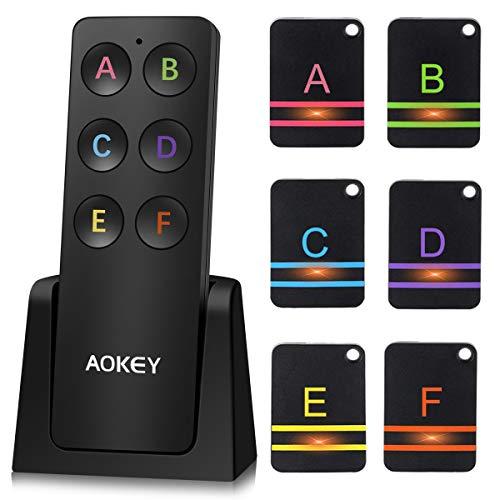 AOKEY Schlüsselfinder, Wireless Key Finder - mit 6 Empfängern, Haustier Tracker, Wallet Tracker,...