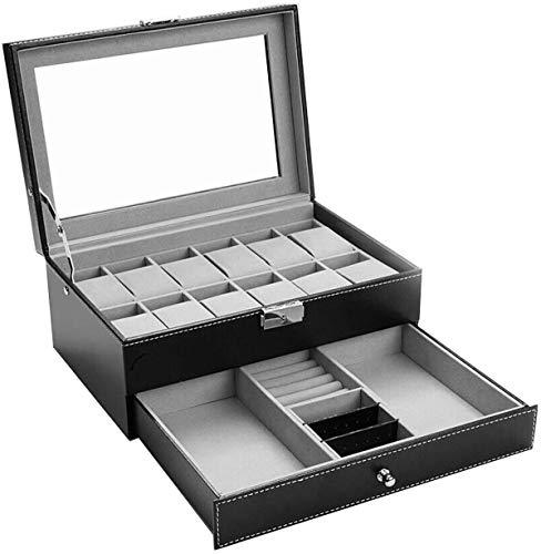 Uhrenbox-12 Slots Mens Uhren Organizer Kunstleder Schmuck Display Kissenbezug, Brillen &...