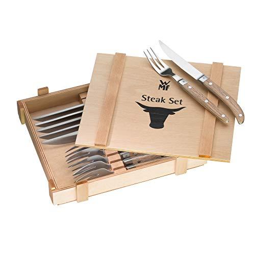 WMF Ranch Steakbesteck 12-teilig, für 6 Personen, Steakgabel, Steakmesser, Spezialklingenstahl...