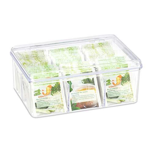 Relaxdays Teebox, 6 Fächer, 90 Teebeutel, Teedose mit Klappdeckel, Aromaschutz, HxBxT 9 x 21,5 x...