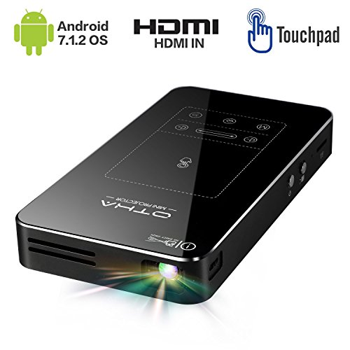 Mini Beamer,Android 7.1 Tragbarer DLP Projektor mit Touchpad Auto Keystone-Korrektur HDMI Wireless...