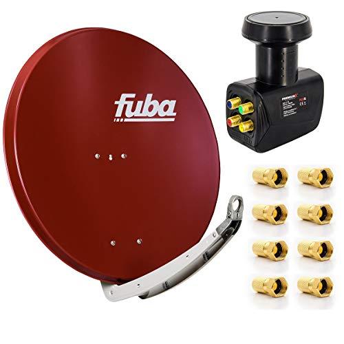 Digital Sat-Anlage Fuba DAA 850 R Satellitenschüssel Rot 85x85cm + PremiumX Quad LNB für 4...