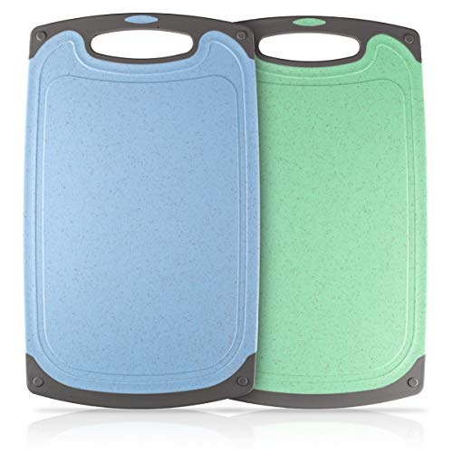 Heatigo Schneidebrett, 2-teiliges Kunststoff-Schneidebrett Antibakteriell Spülmaschinenfestes...