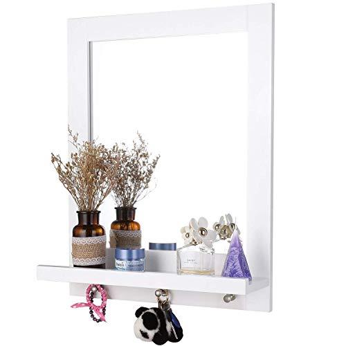 Homfa 60x47cm Wandspiegel mit Ablage und 3 Haken Badspiegel Hängespigel Spiegel für Badezimmer...