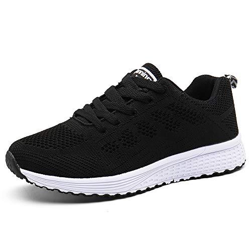 PAMRAY Damen Fitness Laufschuhe Sportschuhe Schnüren Running Sneaker Netz Gym Schuhe,...