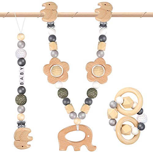 3 Stück kinderwagenkette Junge,Kinderwagenspielzeug elefanten,Baby Holzspielzeug,Rasseln &...