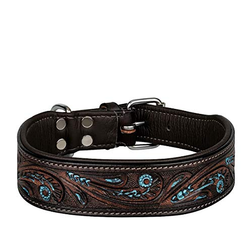 MICHUR Luis Hundehalsband Leder, Lederhalsband Hund, Halsband, Braun mit blauen Akzenten und...