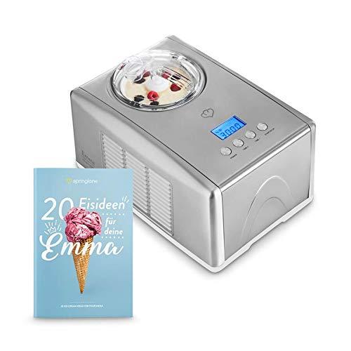 Eismaschine Emma 1,5 L mit selbstkühlendem Kompressor 150 Watt, aus Edelstahl mit entnehmbarem...