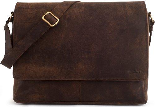 LEABAGS Oxford Umhängetasche Laptoptasche 15 Zoll aus Leder im Vintage Look, Maße (BxHxT): ca....