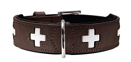 HUNTER SWISS Hundehalsband, Leder, hochwertig, schweizer Kreuz, 55 (M), braun/schwarz