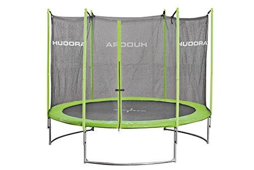 HUDORA Family Trampolin 250 cm, grün/schwarz - Garten-Trampolin mit Sicherheitsnetz, Leiter und...