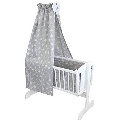 TupTam Unisex Baby Wiegen-Bettwäsche-Set 6-TLG, Farbe: Tupfen-Sterne Weiß/Grau, Anzahl der Teile::...