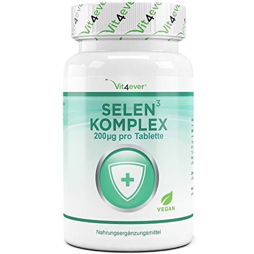 Selen 3-fach Komplex - 365 Tabletten mit je 200 µg - Premium: Natriumselenit, L-Selenmethionin,...
