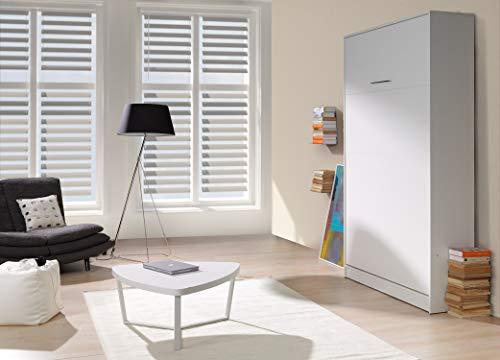 QMM Traum Moebel Schrankbett Wandbett vertikal VB 140x200 weiß Eiche Sonoma 4 Farben ausklappbares...