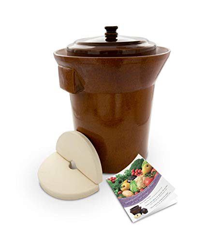 K&K Premium Gärtopf [Form 1] - 10.0 Liter aus hochwertiger Steinzeug Keramik inkl. Deckel und Stein...