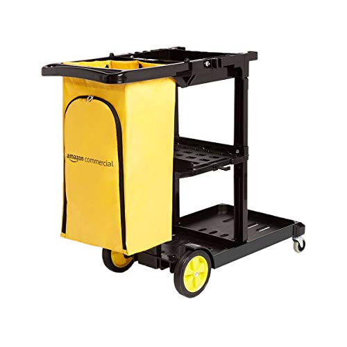 AmazonCommercial Reinigungswagen mit Reißverschlusstasche und 2 Ablageflächen