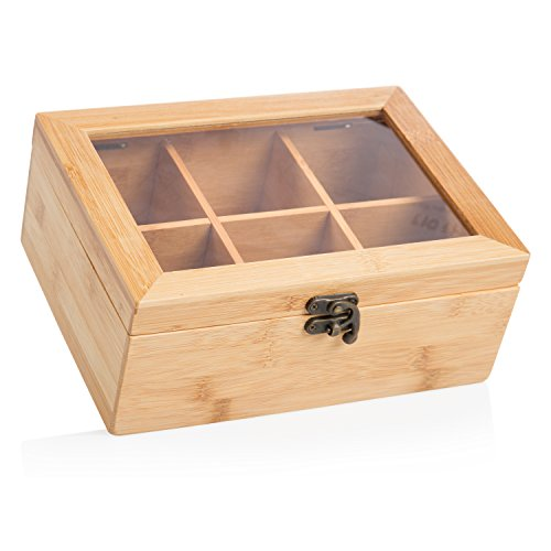 wenco Teebox mit 6 Fächern, 21,7 x 16 x 9 cm, Bambus, Hellbraun, 531269