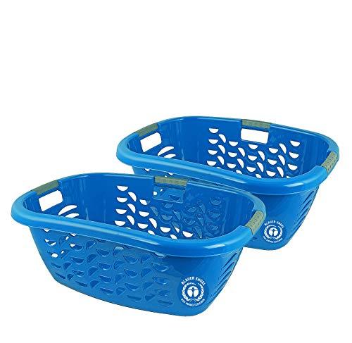 Gies 2X Ecoline Wäschekorb 40 Liter Blau Wäschebox Aufbewahrung ergonomisch 63,5 x 44 x 24 cm -...
