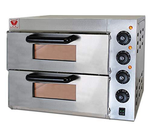 Beeketal 'BPO33-2' Profi Doppel Kammer Pizzaofen mit 2x 400x400 mm Schamottstein Backflächen,...