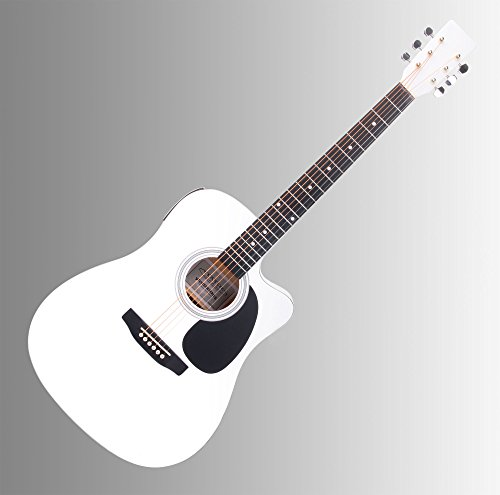 Classic Cantabile WS-10WH-CE Westerngitarre mit Tonabnehmer (Akustik und verstärkt, Dreadnought,...