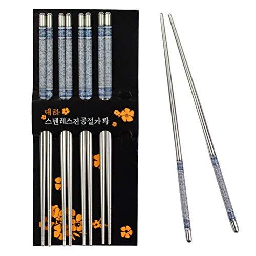 Jerbro 5 Paar Essstäbchen Chopsticks Aus Edelstahl Stäbchen Chinesische Japanische Koreanische...