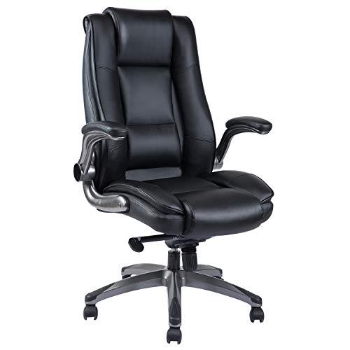 VANBOW Bürostuhl aus Leder mit hoher Rückenlehne - Einstellbarem Neigungswinkel und hochklappbare...