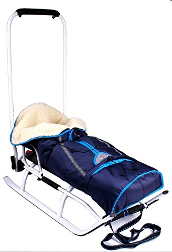3in1 Kinder Schlitten Sport Rodel für Kinder, Babys mit Rückenlehne, Fußsack, Schiebegriff und...