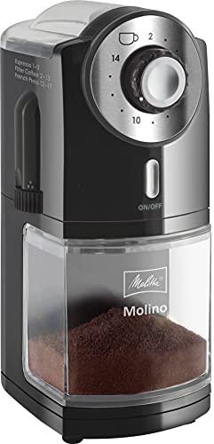 Melitta 1019-02 Kaffeemühle Molino, elektrisch, Scheibenmahlwerk, schwarz
