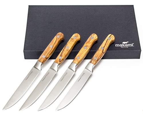 makami Steakmesser 4er-Set Olive Deluxe mit scharfer, glatter Klinge aus deutschem Messerstahl und...