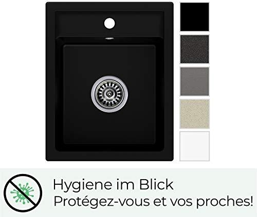 Granitspüle Schwarz mit Siphon, Spülbecken für Unterschrank ab 45cm, Kuchenspüle Riga aus...