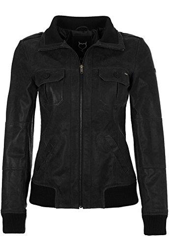 DESIRES Fame Damen Lederjacke Bikerjacke Echtleder Mit Stehkragen, Größe:XL, Farbe:Black (9000)
