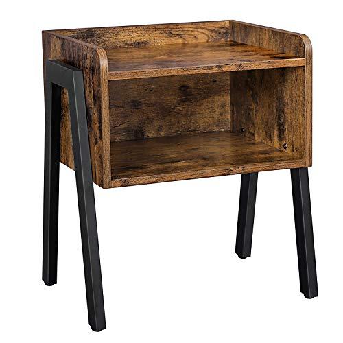 VASAGLE Nachttisch, Nachtkommode, Beistelltisch im Industrie-Design, stapelbarer Nachtschrank mit...