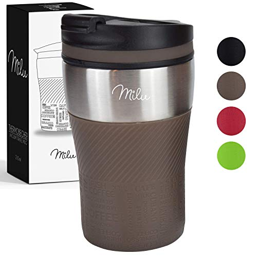 Milu Thermobecher Isolierbecher Kaffeebecher to go - 210ml 100% Auslaufsicher - Trinkbecher aus...