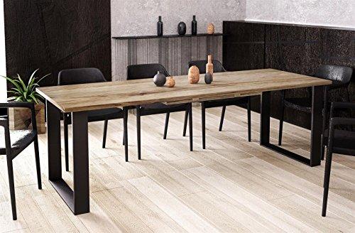 Endo-Moebel Kufentisch Esstisch Cora San Remo Eiche Trüffel ausziehbar 130cm - 210cm Küchentisch...
