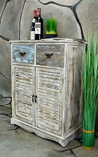 Livitat® Kommode Schrank mit Schubladen Landhaus Shabby Chic Vintage Weiß Bunt (4 Schubladen...