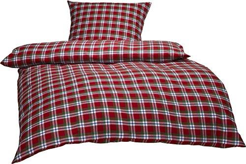 Bettwaesche-mit-Stil warme Fein-Flanell Winter Bettwäsche Toronto Landhaus Karo rot grün weiß...