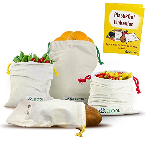 EcoYou® Obst & Gemüsebeutel aus Bio-Baumwolle I Wiederverwendbare Brotbeutel Aufbewahrung 4er Set...
